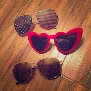 Heart Shaped Glasses USA Shades Sunglasses 3 Pairs
